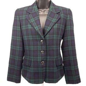 Ellen Tracy Plaid 100% Wool Blazer Jacket